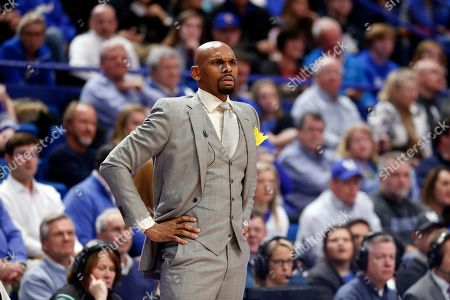 Vanderbilt head coach Jerry Stackhouse watches his team during the first half of an NCAA college basketball game against Kentucky in Lexington, Ky., . Kentucky won 71-62