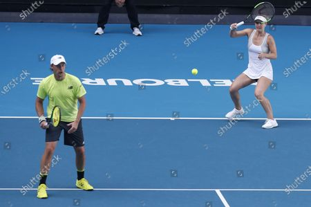 Henri Kontinen of Finland and Gabriela Dabrowski of Canada in action during their mixed doubles quarterfinal match against Latisha Chan of Taipei and Ivan Dodig of Croatia at the Australian Open Grand Slam tennis tournament in Melbourne, Australia, 30 January 2020.