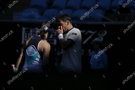 Latisha Chan of Taipei and Ivan Dodig of Croatia in action during their mixed doubles quarterfinal match against Henri Kontinen of Finland and Gabriela Dabrowski of Canada at the Australian Open Grand Slam tennis tournament in Melbourne, Australia, 30 January 2020.