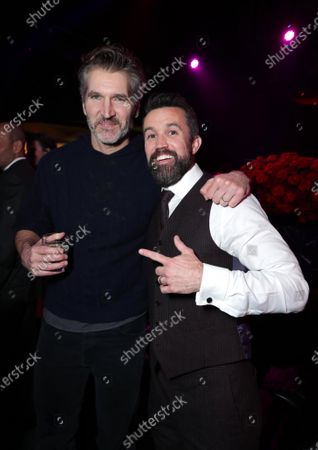 """David Benioff and Rob McElhenney, Writer/Executive Producer, at the Apple TV+ """"Mythic Quest: Raven's Banquet"""" Premiere After Party at the Sunset Room."""
