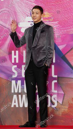 Ji soo poses as he arrives for the 29th annual High1 Seoul Music Awards at the Gocheok Sky Dome in Seoul, South Korea, 30 January 2020.