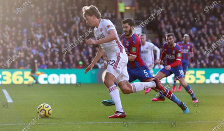 Stock Picture of Sander Berge of Sheffield United takes on James Tomkins of Crystal Palace