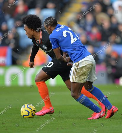 Willian of Chelsea battles with Ricardo Pereira of Leicester City