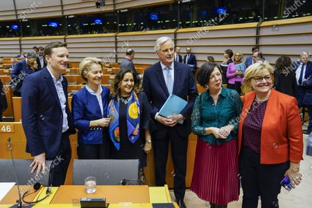 Seb Dance, Ursula von der Leyen, Neena Gill, Michel Barnier, Theresa Griifin, Jackie Jones. European Parliament Plenary session - Withdrawal Agreement of the United Kingdom of Great Britain and Northern Ireland from the European Union and the European Atomic Energy Community