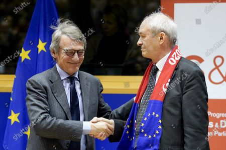 Stock Picture of David Sassoli and Richard Corbett. S&D event for British MEPs 'It's not goodbye it's au revoir'