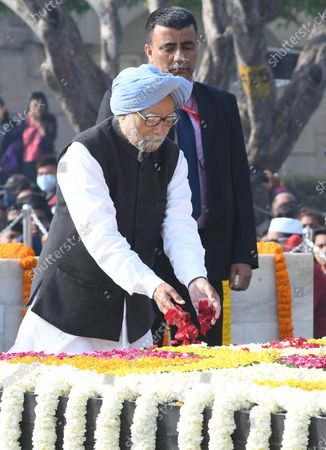 Former prime minister of India Manmohan Singh pays tribute during an event held to mark the annual Martyrs' Day at the Raj Ghat Mahatma Gandhi memorial, in New Delhi, India, 30 January 2020. The event marks the assassination of the 'Father of the Nation' Mahatma Gandhi, who was killed on 30 January 1948.