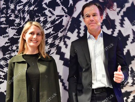 HM's retiring CEO Karl-Johan Persson (R) and the new CEO Helena Helmersson (L) arrive to a press conference presenting the company's final results for 2019, at the company's headquaters in Stockholm, Sweden, 30 January 2020.
