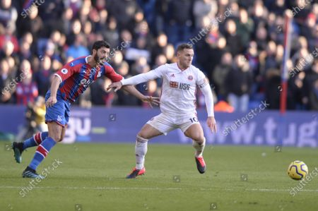James Tomkins of Crystal Palace and Billy Sharp of Sheffield United in action during the Premier League match between Crystal Palace and Sheffield United at Selhurst Park in London, UK - 1st February 2020