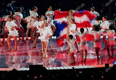 Stock Picture of Jennifer Lopez and Emme Maribel Muniz performs in the Pepsi Super Bowl LIV Halftime Show