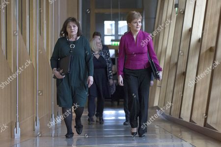 Stock Picture of Scottish Parliament First Minister's Questions - Jeane Freeman, Cabinet Secretary for Health and Sport, and Nicola Sturgeon, First Minister of Scotland and Leader of the Scottish National Party (SNP), make their way to the Debating Chamber.