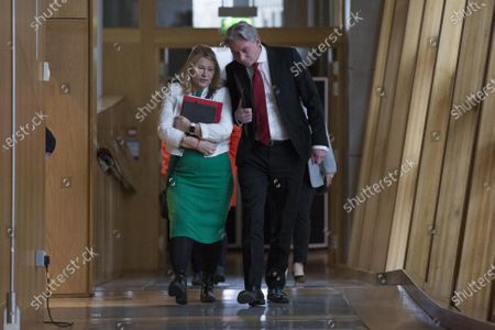 Scottish Parliament First Minister's Questions - Pauline McNeill and Richard Leonard, Leader of the Scottish Labour Party, makes his way to the Debating Chamber.