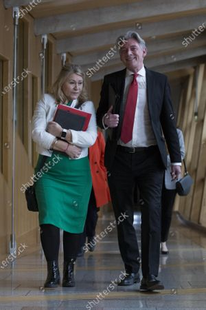 Stock Photo of Scottish Parliament First Minister's Questions - Pauline McNeill and Richard Leonard, Leader of the Scottish Labour Party, makes his way to the Debating Chamber.