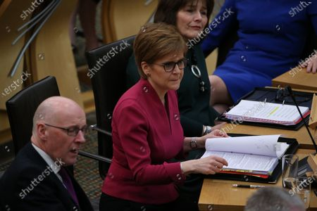 Scottish Parliament First Minister's Questions - John Swinney, Deputy First Minister and Cabinet Secretary for Education and Skills, Nicola Sturgeon, First Minister of Scotland and Leader of the Scottish National Party (SNP), and Jeane Freeman, Cabinet Secretary for Health and Sport.