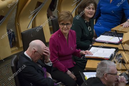 """Scottish Parliament First Minister's Questions - John Swinney, Deputy First Minister and Cabinet Secretary for Education and Skills, Nicola Sturgeon, First Minister of Scotland and Leader of the Scottish National Party (SNP), Jeane Freeman, Cabinet Secretary for Health and Sport, and Michael Russell, Cabinet Secretary for Government Business and Constitutional Relations or """"Brexit Minister""""."""