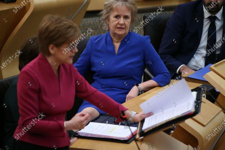 Scottish Parliament First Minister's Questions - Nicola Sturgeon, First Minister of Scotland and Leader of the Scottish National Party (SNP), and Roseanna Cunningham, Cabinet Secretary for Environment, Climate Change and Land Reform.