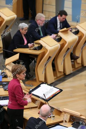 Scottish Parliament First Minister's Questions - Nicola Sturgeon, First Minister of Scotland and Leader of the Scottish National Party (SNP), Annie Wells, Jackson Carlaw, Interim Leader of the Scottish Conservative and Unionist Party, and Maurice Golden.