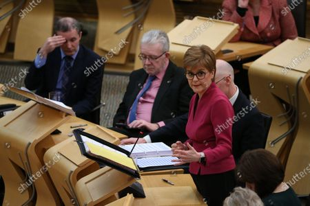 """Scottish Parliament First Minister's Questions - Michael Matheson, Cabinet Secretary for Transport, Infrastructure and Connectivity, Michael Russell, Cabinet Secretary for Government Business and Constitutional Relations or """"Brexit Minister"""", and Nicola Sturgeon, First Minister of Scotland and Leader of the Scottish National Party (SNP)."""