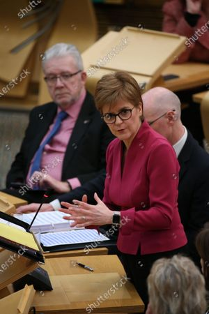 """Scottish Parliament First Minister's Questions - Michael Russell, Cabinet Secretary for Government Business and Constitutional Relations or """"Brexit Minister"""", and Nicola Sturgeon, First Minister of Scotland and Leader of the Scottish National Party (SNP)."""