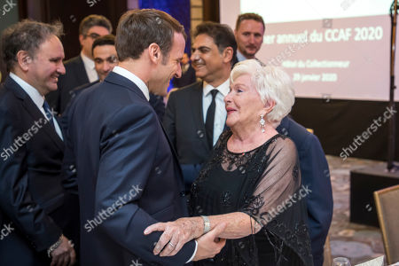 French-Armenian community annual dinner in Paris. French President Emmanuel Macron greets French Actress Line Renaud during the annual dinner of CCAF (Co-ordination Council of Armenian organisations of France), in Paris, Wednesday Jan.29 2020. The CCAF is the representative body of the French-Armenian Community