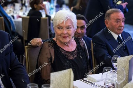 Stock Picture of French-Armenian community annual dinner in Paris. French Actress Line Renaud attends the annual dinner of CCAF (Co-ordination Council of Armenian organisations of France), in Paris, Wednesday Jan.29 2020. The CCAF is the representative body of the French-Armenian Community