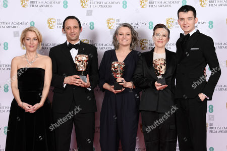 Mark Jenkin, Kate Byers, Linn Waite - Outstanding Debut By A British Writer, Director Or Producer - Bait, presented by Gillian Anderson and Asa Butterfield
