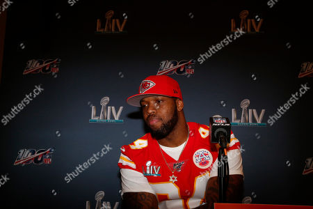 Kansas City Chiefs outside linebacker Terrell Suggs (94) speaks during a news conference, in Aventura, Fla., for the NFL Super Bowl 54 football game
