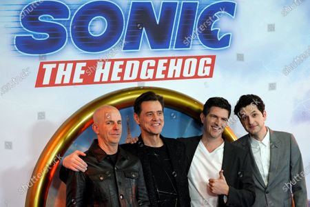 Neal H. Moritz  US actor Jim Carrey, US director Jeff Fowler and US actor Ben Schwartz  pose of photographs during a gala screening of 'Sonic the Hedgehog' in Central London, Britain, 30 January 2020. The movie screens in UK cinemas from 14 February 2020.