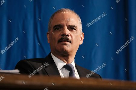 Former Attorney General Eric Holder attends a ceremony to unveil the new Gwen Ifill Black Heritage Commemorative Forever Stamp during a Postal Service ceremony at the Metropolitan African Methodist Episcopal Church, in Washington