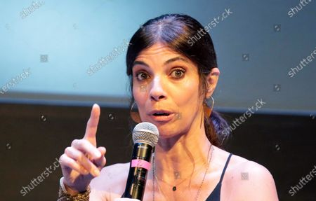 Spanish actress Maribel Verdu speaks during the inaugural talk of the Hay Festival's 15th edition, in Cartagena, Colombia, 30 January 2020. The Hay Festival of Cartagena will hold its 15th edition with dialogues about the future in which more than 140 guests will take part.