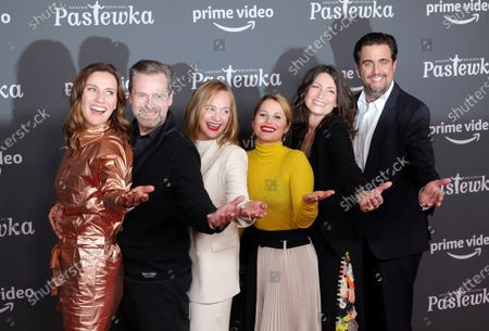 Stock Picture of German actors Bettina Lamprecht, Matthias Matschke, Sonsee Neu, Cristina do Rego, Sabine Vitua and Bastian Pastewka pose on the red carpet for the premiere of the tenth season of 'Pastewka', in Berlin, Germany, 30 January 2020. Pastewka is a German television sitcom that ran initially from 2005 to 2014. German actor Bastian Pastewka stars as a fictionalized version of himself.