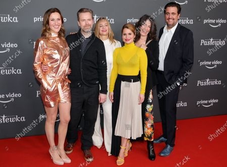 German actors Bettina Lamprecht, Matthias Matschke, Sonsee Neu, Cristina do Rego, Sabine Vitua and Bastian Pastewka pose on the red carpet for the premiere of the tenth season of 'Pastewka', in Berlin, Germany, 30 January 2020. Pastewka is a German television sitcom that ran initially from 2005 to 2014. German actor Bastian Pastewka stars as a fictionalized version of himself.