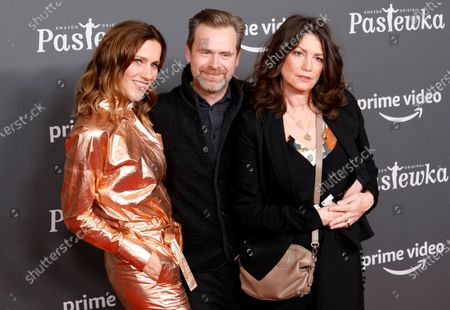 Stock Photo of German actors Bettina Lamprecht (L), Matthias Matschke (C) and Sabine Vitua pose on the red carpet for the premiere of the tenth season of 'Pastewka', in Berlin, Germany, 30 January 2020. Pastewka is a German television sitcom that ran initially from 2005 to 2014. German actor Bastian Pastewka stars as a fictionalized version of himself.