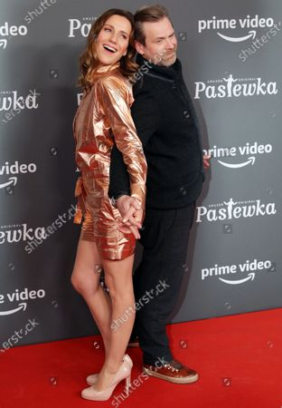 German actors Bettina Lamprecht (C) and Matthias Matschke pose on the red carpet for the premiere of the tenth season of 'Pastewka', in Berlin, Germany, 30 January 2020. Pastewka is a German television sitcom that ran initially from 2005 to 2014. German actor Bastian Pastewka stars as a fictionalized version of himself.