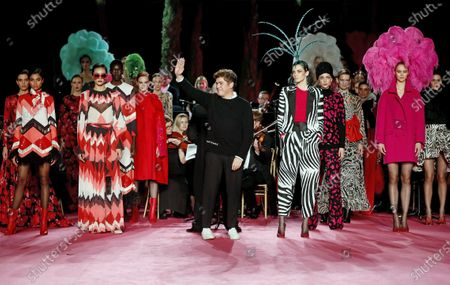 Spanish fashion brand Manuel Pertegaz's director Jorge Vazquez (C) greets the crowd during the Mercedes-Benz Fashion Week 2020 Madrid, in Madrid, Spain, 30 January 2020. The Fall/Winter 2020/21 collections are presented at the MBFW Madrid from 28 January to 02 February 2020.