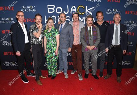 Noel Bright, Aaron Paul, Lisa Hanawalt, Raphael Bob-Waksberg, Mike Hollingsworth, Paul F. Tompkins, Will Arnett and Steve Cohen