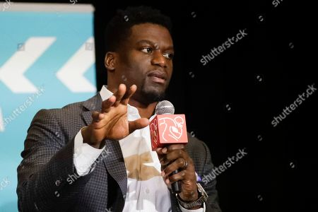 New England Patriots ' Benjamin Watson speaks during the NFL Players Association annual state of the union news conference, in Miami Beach, Fla., The San Francisco 49ers will face the Kansas City Chiefs in the NFL Super Bowl 54 football game Sunday