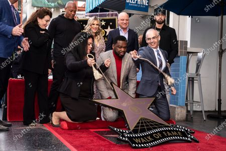 Stock Image of US US rappers Dr. Dre, Curtis 50 Cent  Jackson, Stars CEO Chris Albrecht and US rapper Eminem unveil 50 Cent's 2,686th star on the Hollywood Walk of Fame in Hollywood, California, USA, 30 January 2020. The star was dedicated in the Category of Recording.