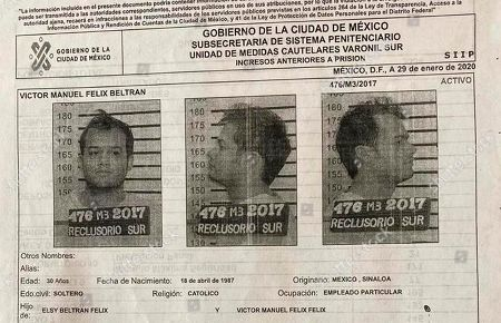 This document provided by the Mexico City government shows the mug shots and criminal record of Victor Manuel Felix Beltran, from the Reclusorio Sur jail in Mexico City. Beltran, an important financial operator for the Sinaloa Cartel and two other inmates facing extradition to the United States, escaped from the penitentiary in a jail transport van, city officials said