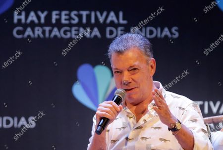 Peace Nobel Prize winner of 2016 and former President of Colombia (2010-2018), Juan Manuel Santos, speaks during the 15th Hay Festival in Cartagena, Colombia, 30 January 2020. Santos said that a US military intervention in Venezuela would unleash 'a second Vietnam' and warned that Venezuelan President Nicolas Maduro is much stronger today than a year ago.