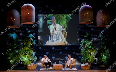Stock Image of Peace Nobel Prize winner of 2016 and former President of Colombia (2010-2018), Juan Manuel Santos (R), speaks to Venezuelan writer Moises Naim (L) during the 15th Hay Festival in Cartagena, Colombia, 30 January 2020. Santos said that a US military intervention in Venezuela would unleash 'a second Vietnam' and warned that Venezuelan President Nicolas Maduro is much stronger today than a year ago.