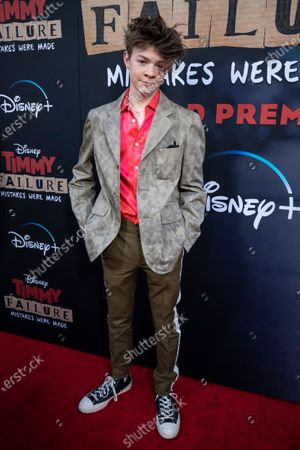 Stock Photo of Oakes Fegley arrives for the premiere of Disney's film 'Timmy Failure: Mistakes Were Made' at El Capitan Theater in Hollywood, California, USA, 30 January 2020. The film will be released on Disney+ on 25 January.