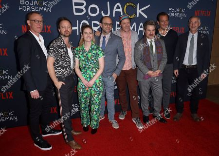 "Noel Bright, Aaron Paul Lisa Hanawalt, Raphael Bob-Waksberg, Mike Hollingsworth, Paul F. Tompkins, Will Arnett, Steve Cohen. Noel Bright, from left, Aaron Paul Lisa Hanawalt, Raphael Bob-Waksberg, Mike Hollingsworth, Paul F. Tompkins, Will Arnett and Steve Cohen attend the ""BoJack Horseman"" Final Episodes Photo Call at The Egyptian Theatre Hollywood, in Los Angeles"