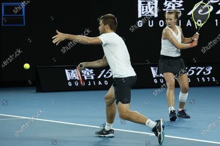 Barbora Krejcikova of Czech Republic and Nikola Mektic of Croatia in action during their mixed doubles semifinal match against Henri Kontinen of Finland and Gabriela Dabrowski of Canada at the Australian Open Grand Slam tennis tournament in Melbourne, Australia, 31 January 2020.