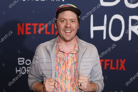 Stock Photo of US supervising director Mike Hollingsworth poses on the red carpet prior to the premiere of the Bojack Horseman final episodes at the Egyptian Theater in Los Angeles, California, USA, 30 January 2020.