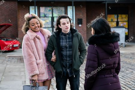 Ep 10005 Wednesday 12th February 2020 - 2nd Ep Emma, as played by Alexandra Mardell, and Seb Franklin, as played by Harry Visinoni, offer Alina, as played by Ruxandra Porojnicu, the box room in the salon flat. Alina's grateful.