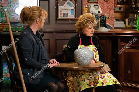 Ep 10000 & 10001 Friday 8th February 2020 Rita Tanner, as played by Barbara Knox, is surprised when a parcel arrives containing Dennis's ashes and a note requesting she scatter them in Blackpool. Also pictured Jenny Connor, as played by Sally-Ann Matthews.