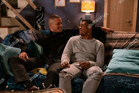 Ep 10008 Monday 17th February 2020 - 1st Ep Knowing the house to be empty, James Bailey, as played by Nathan Graham, takes Danny, as played by Dylan Brady, back to No.3 and leads him up the stairs.