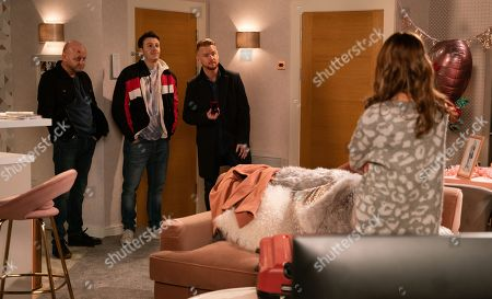Stock Image of Ep 10007 Friday 14th February 2020 - 2nd Ep A guilty Maria Connor, as played by Samia Longchambon, returns to the flat and confronts Gary Windass, as played by Mikey North, about his shady dealings. But when both Ike, as played by Julian Walsh, and Ryan Connor, as played by Ryan Prescott, back him up and explain that his money to Ike was a gift and the parcel Ryan had was an engagement ring she starts to realise she has made a huge mistake.