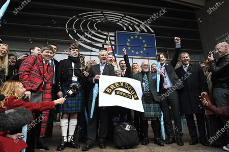 Manifestation at the European Parliament with Jake Pugh and Ann Widdecombe