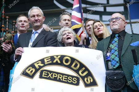 Ann Widdecombe (C), MEP for South West England, along with other British Members of the European Parliament (MEP) leave the EU Parliament for the last time in Brussels, Belgium, 31 January 2020. Britain officially exits the EU on 31 January 2020, beginning an eleven month transition period.